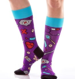 Medical Women's Purple Crew Socks