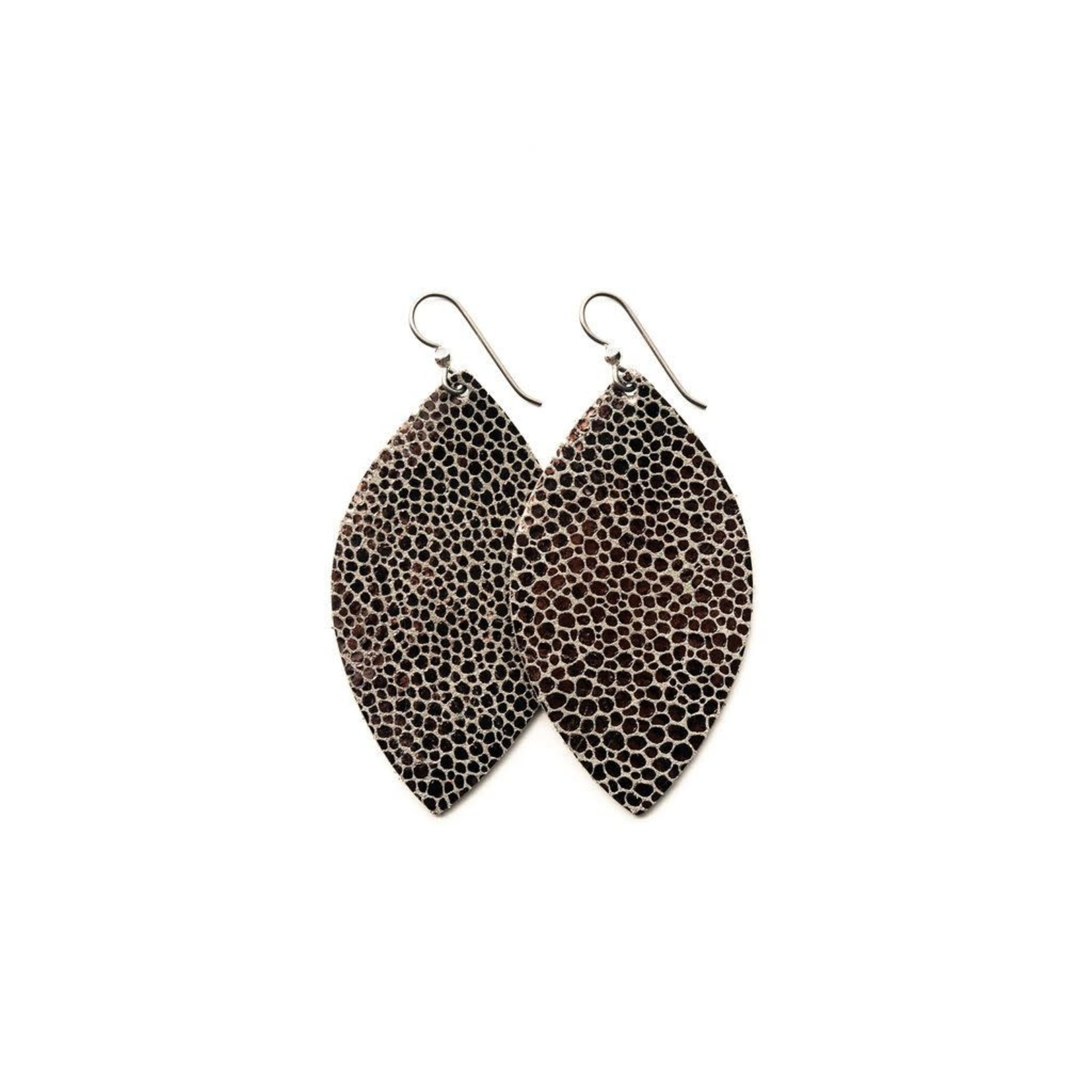 Keva Style Large Leather Speckled Anthracite Earrings