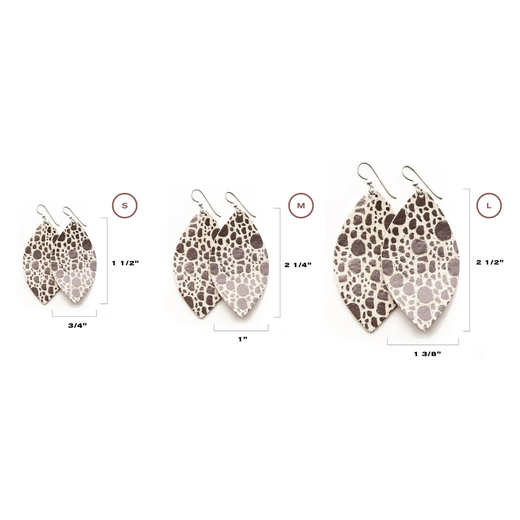 Large Leather Speckled Anthracite Earrings