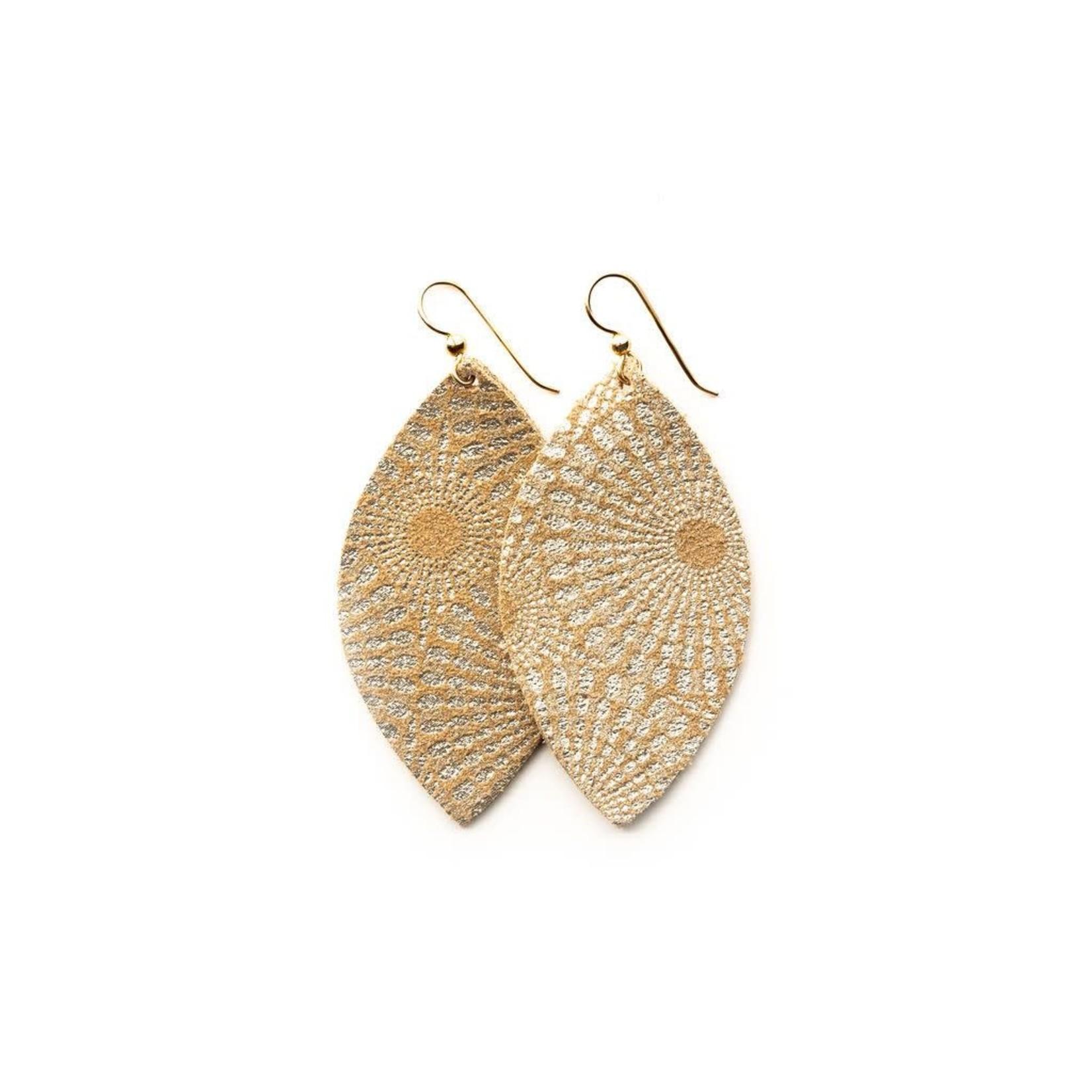 Keva Style Large Leather Gold Starburst Earrings