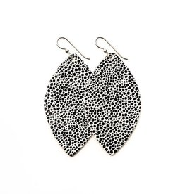 Keva Style Large Leather Speckled Black On White Earrings