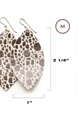 Keva Style Large Leather Speckled Silver Metallic Earrings