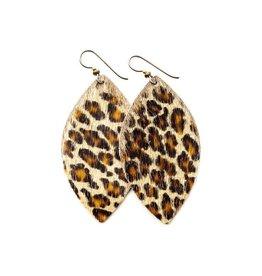 Keva Style Large Leather Leopard Earrings