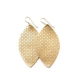 Keva Style Large Leather Gold Cobblestone Earrings