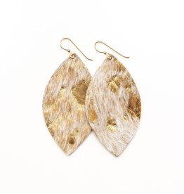 Keva Style Large Leather Gold Foil Earrings