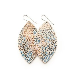 Keva Style Large Leather Multi Colored Speckled Earrings