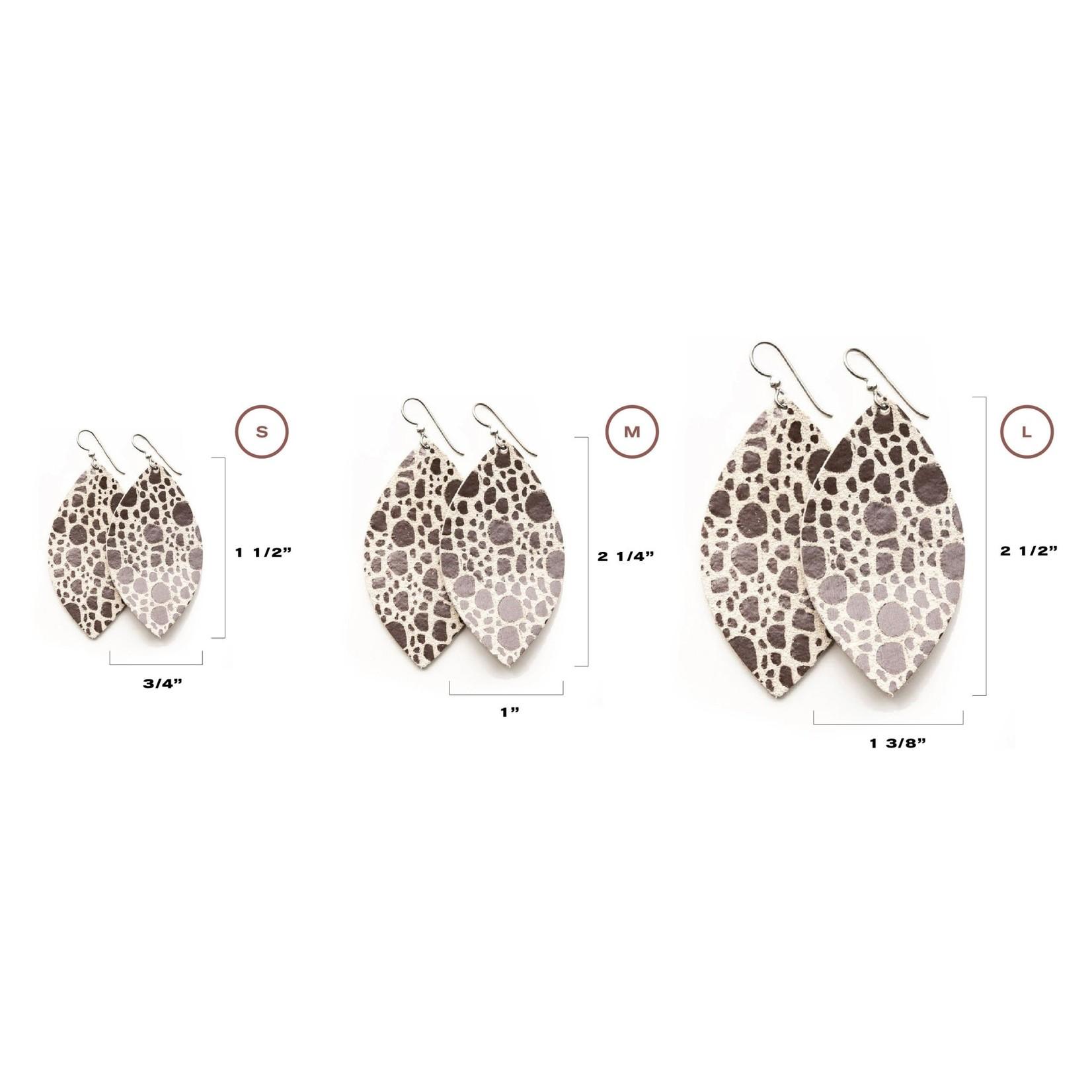 Keva Style Large Leather Mosaic Cream Bronze Earrings