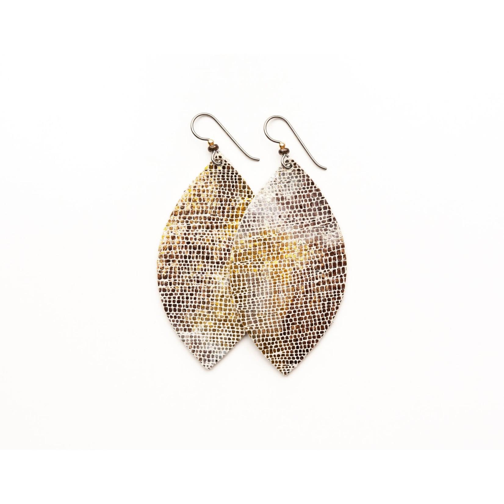 Keva Style Large Leather Gold & Bronze Shimmer Earrings