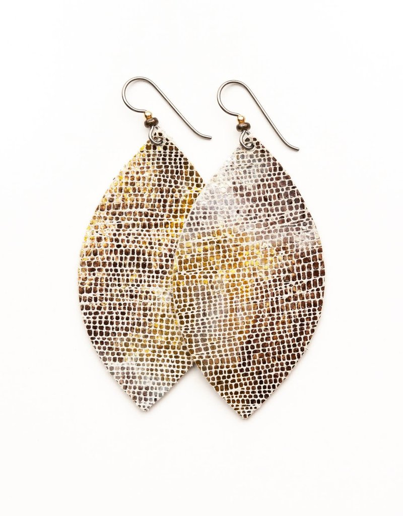 Keva Style Large Leather Gold & Bronze Shimmer Earrings