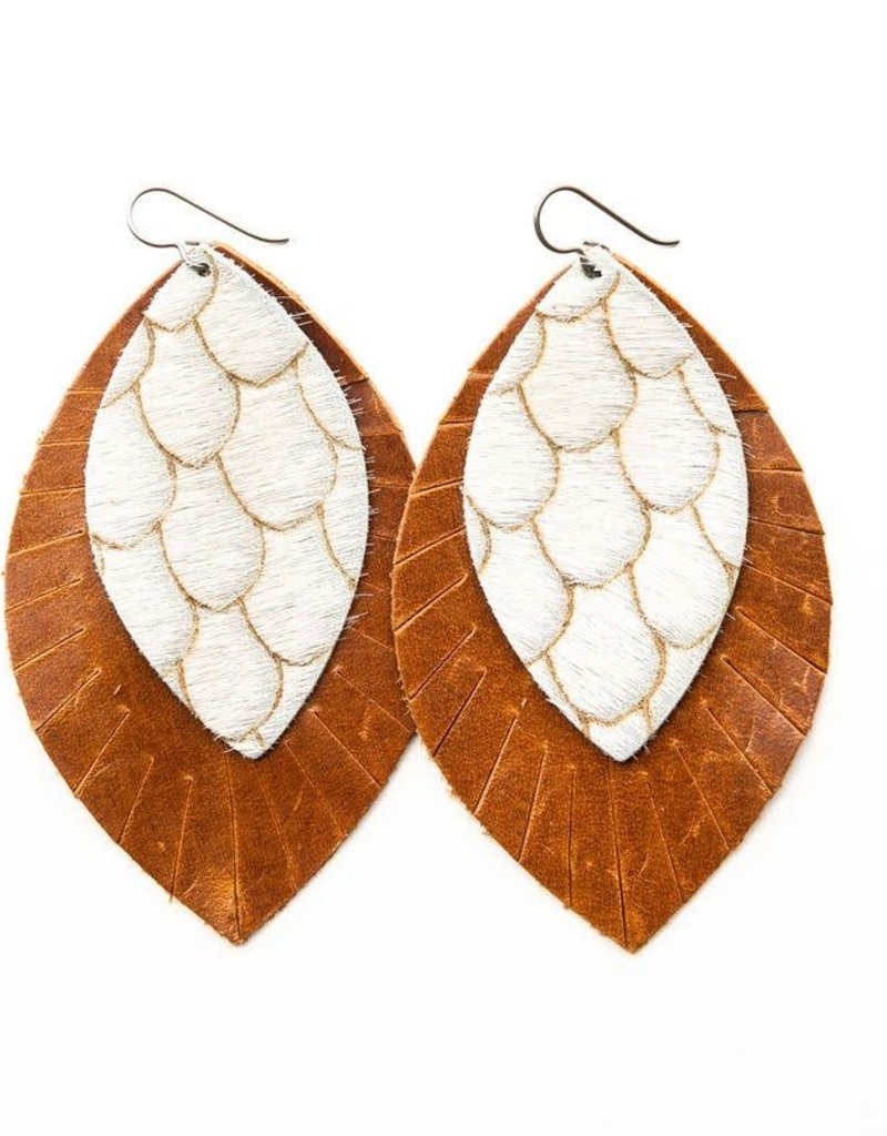 Keva Style Large 2 Layer Leather Taupe & Cream with Brown Base Earrings