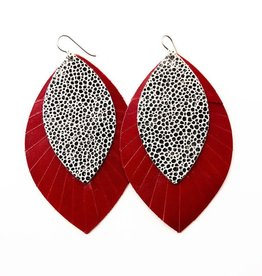 Keva Style Large 2 Layer Leather Speckled Black On White w/Red Base Earrings
