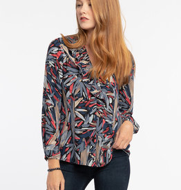 Nic+Zoe Top/Light/Multi/Tan/Navy/Coral/RibRffleCollr/VNck/BtnUp