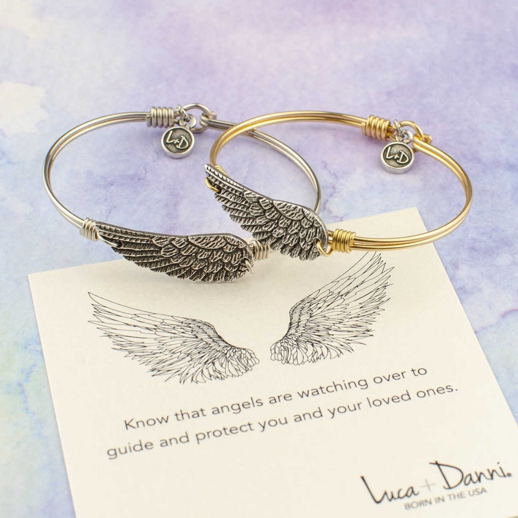 Luca+Danni Angel Wing Bangle Bracelet in Brass/Regular