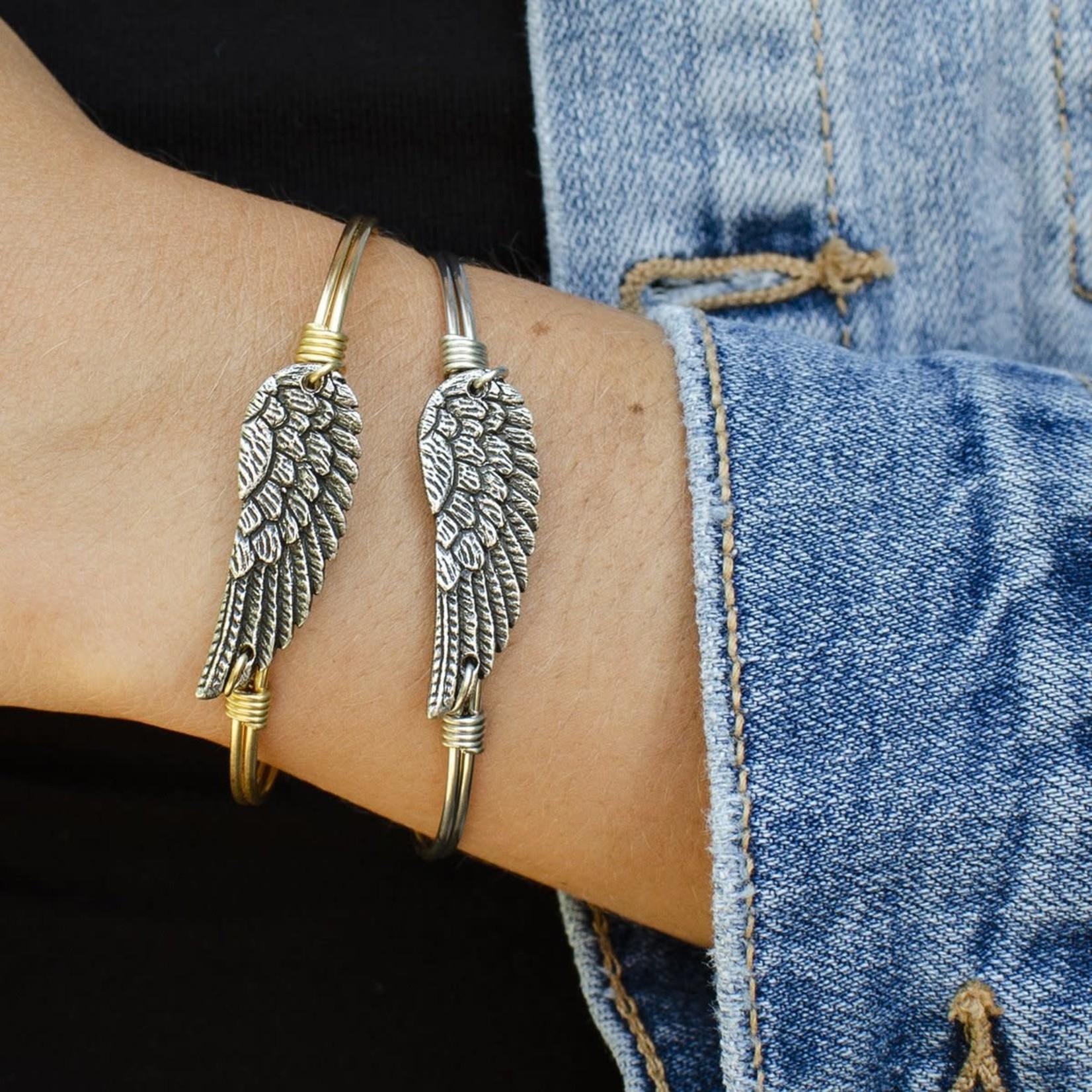 Luca+Danni Angel Wing Bangle Bracelet in Silver Tone/Regular