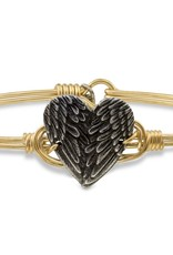 Luca+Danni Angel Wing Heart Bangle Bracelet in Brass/Petite