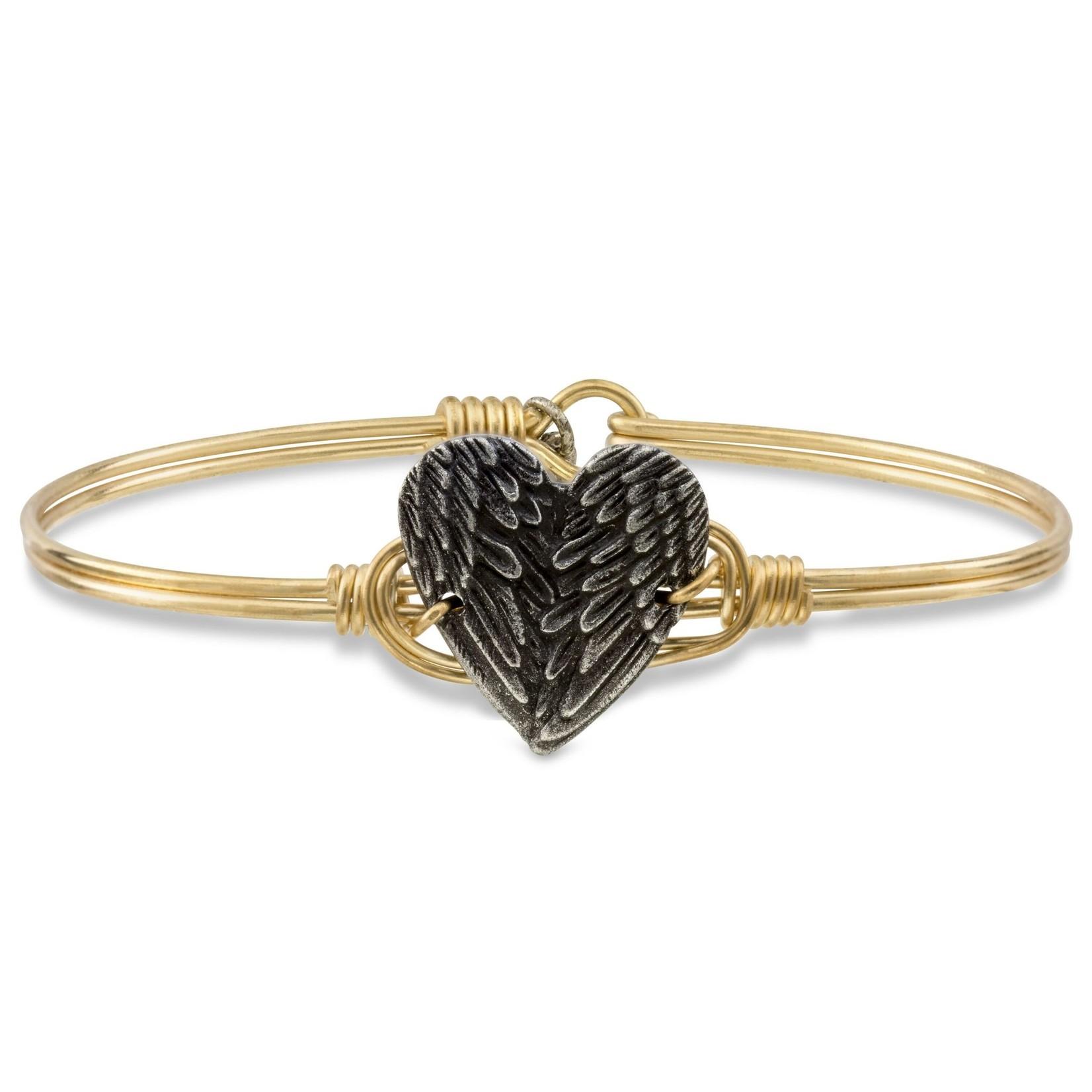 Luca+Danni Angel Wing Heart Bangle Bracelet in Brass/Petite