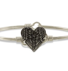 Luca+Danni Angel Wing Heart Bangle Bracelet in Silver Tone/Regular