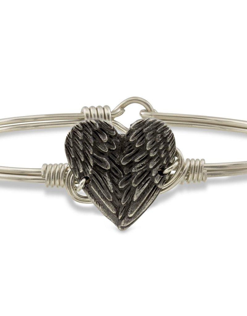 Luca+Danni Angel Wing Heart Bangle Bracelet in Silver Tone/Regular