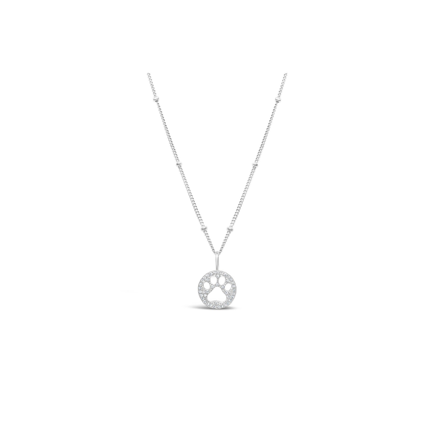 Paw Pave' Icon Silver Necklace