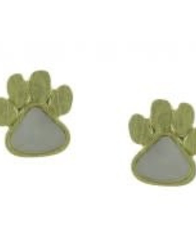 Dog Paw Post Earrings in Gold