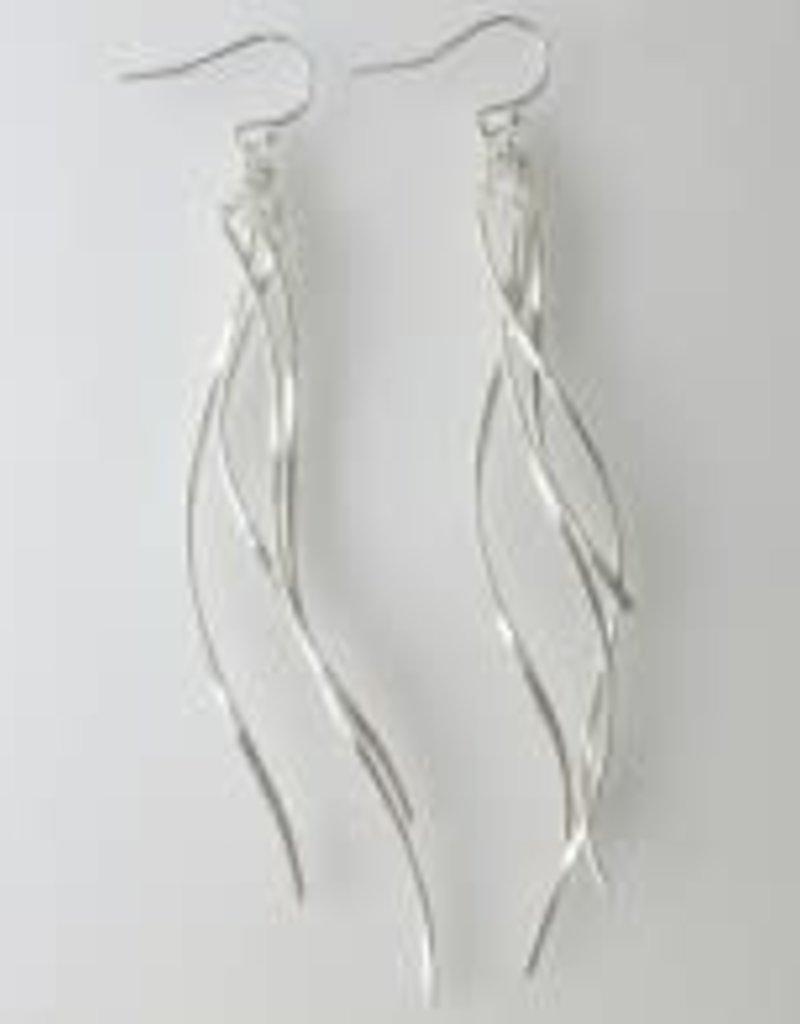 Multi Twist Dangle Earrings in Silver