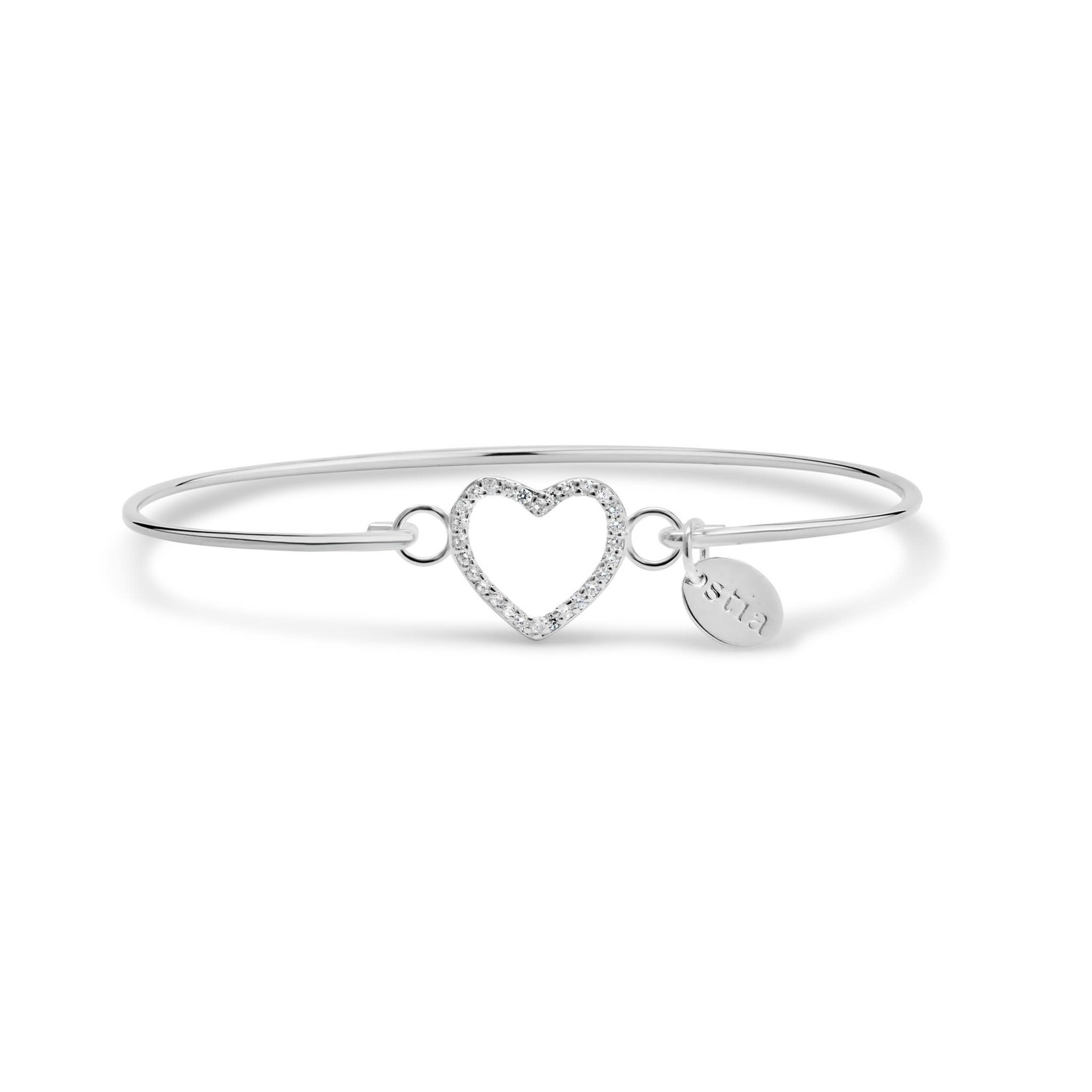 Open Heart Pave' Icon Sterling Bracelet