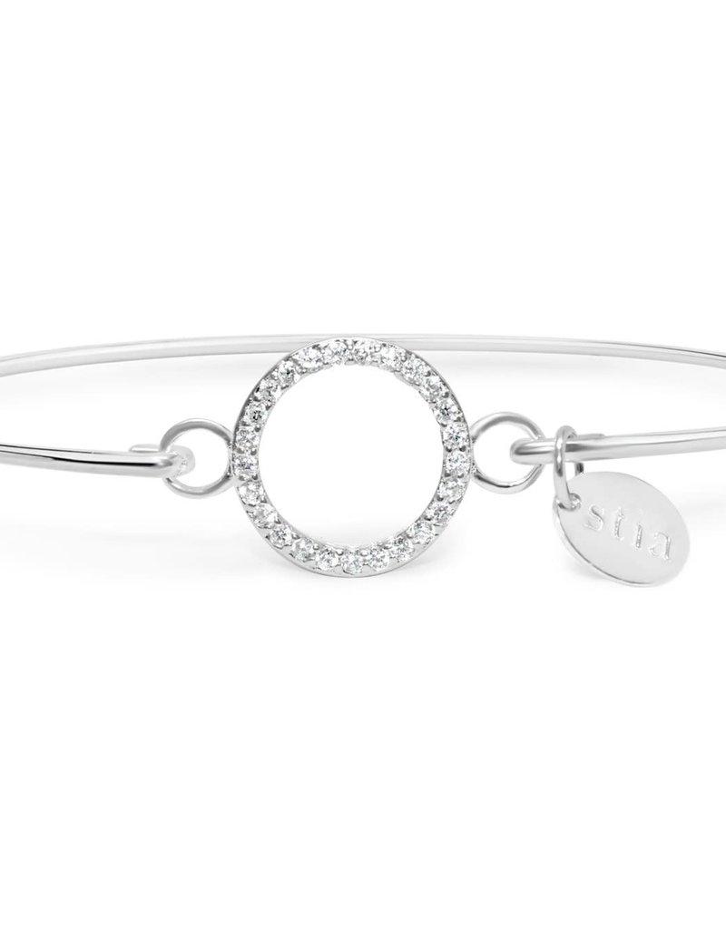 Circle Pave' Icon Sterling Bracelet