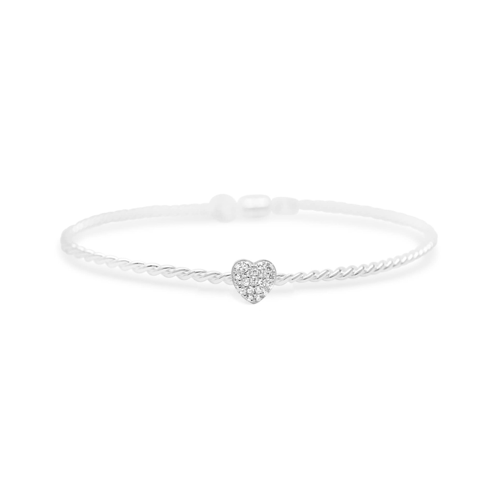 Heart Pave' Rope Bracelet w/Magnetic Closure