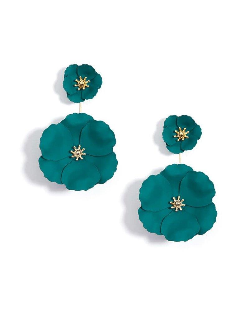 Flower Power Convertible Drop Earrings in Teal