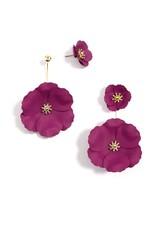 Flower Power White Metal Convertible Earrings w/18K Gold
