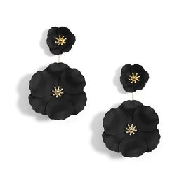 Flower Power Black Metal Convertible Earrings w/18K Gold