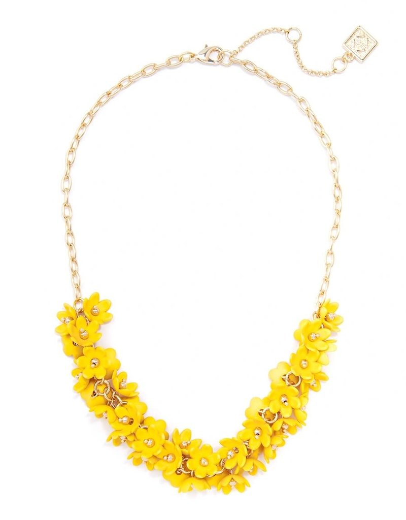 Petite Flowers Collar Necklace in Yellow