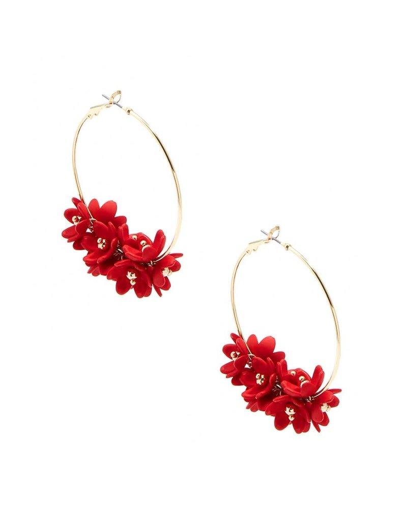 Petite Petals Hoop Earrings in Flame