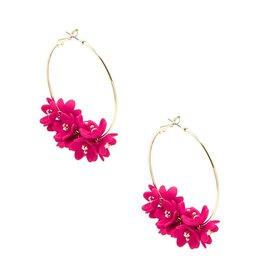 Petite Petals Hoop Earrings in Hot Pink