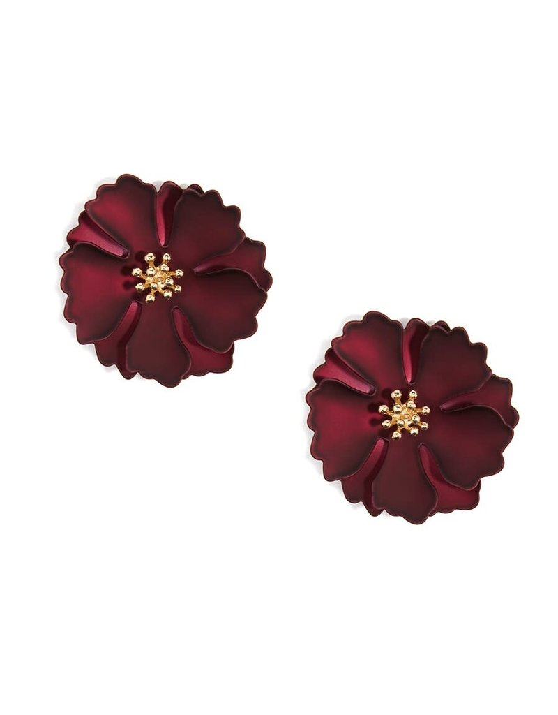 Metallic Camellia Flower Earrings in Red