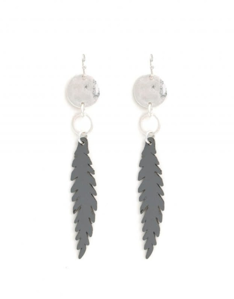 Grey & Silver Pleather Feather/Disc Earrings