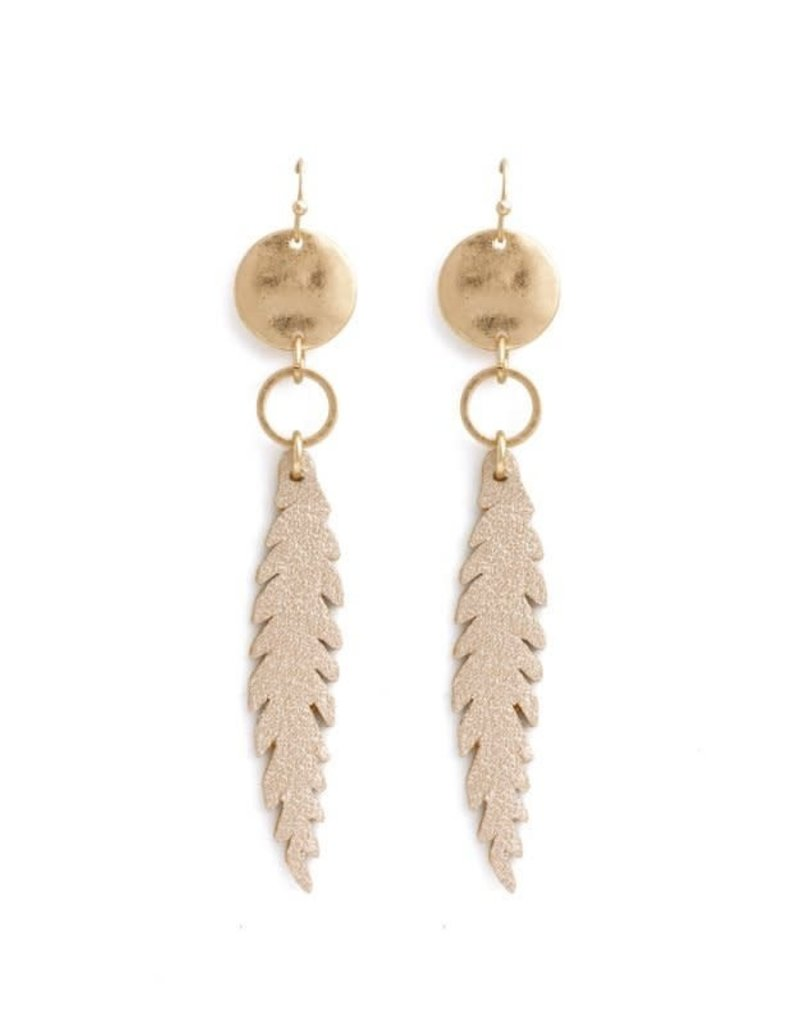 Gold Pleather Feather/Disc Earrings