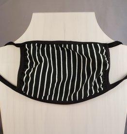 Black w/White Stripes 3 Layer Fabric Mask