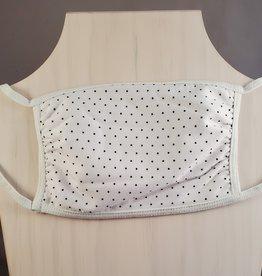 White w/Black Tiny Dots 3 Layer Fabric Mask
