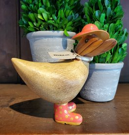 Dcuk Fancy Natural Bamboo Ducky w/Gold & Coral Hat