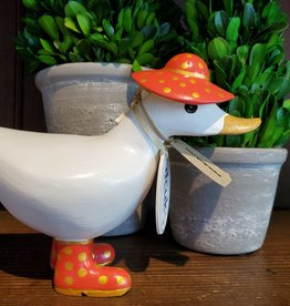 Dcuk Fancy White Bamboo Ducky w/Gold & Coral Hat