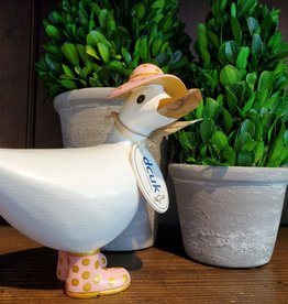 Dcuk Fancy White Bamboo Ducky w/Gold & Pink Hat