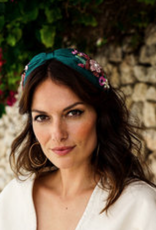 Powder Pink Floral on Teal Embroidered Headband