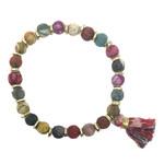 WorldFinds Sequined Kantha Tassel Bracelet