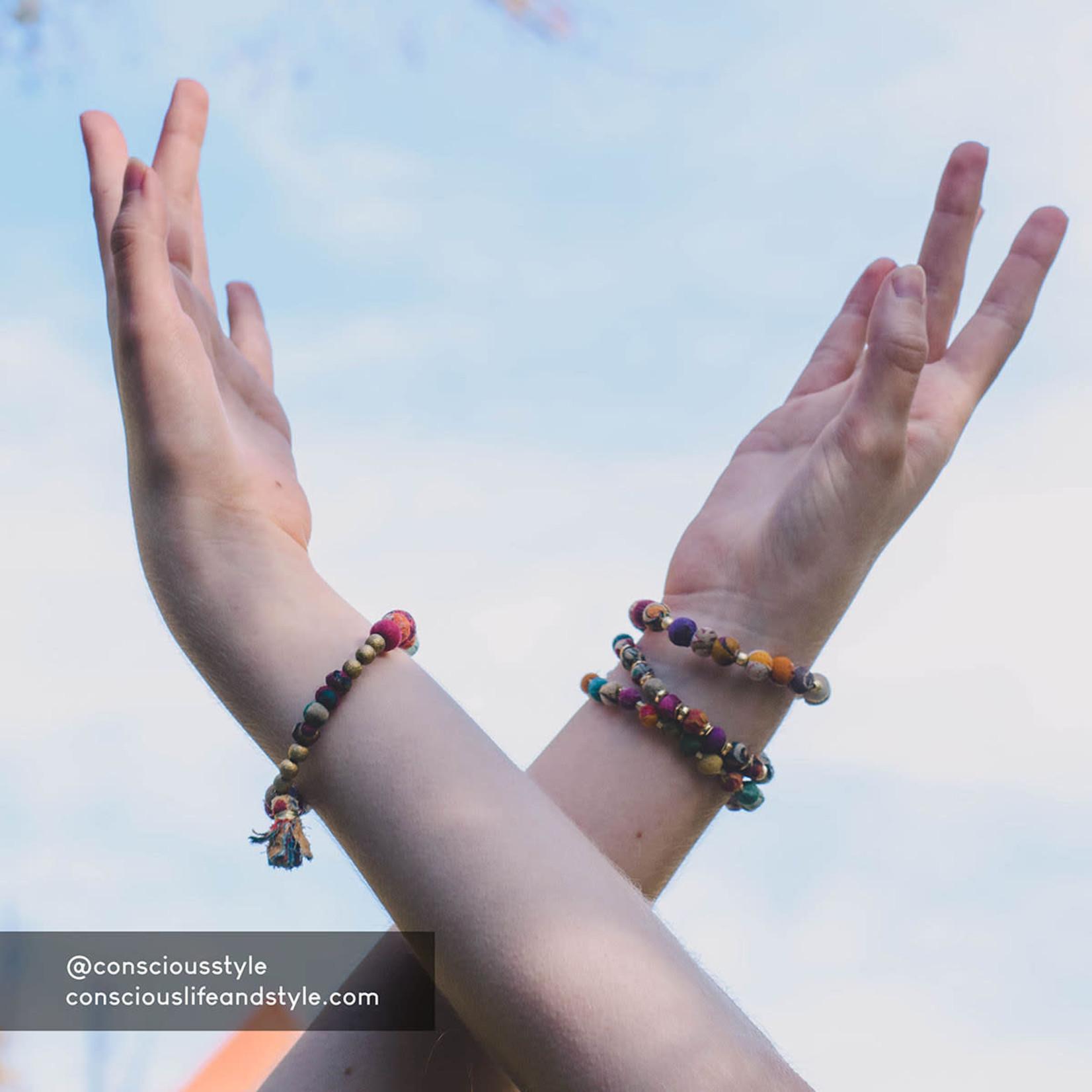 WorldFinds Bracelet/TinyKanthaBeadsGoldBeadsBetweenSonnet