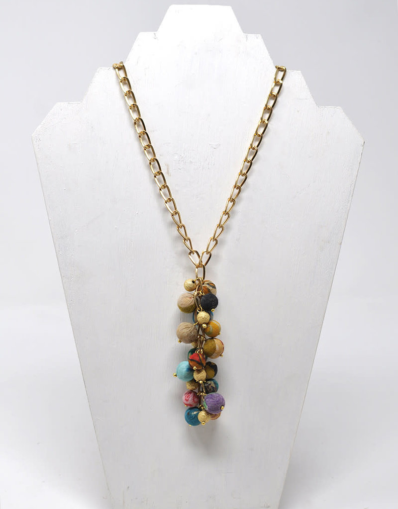 WorldFinds Cascading Kantha Necklace