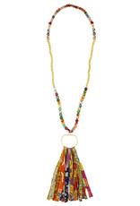 WorldFinds Kantha and Gold Fringe Necklace
