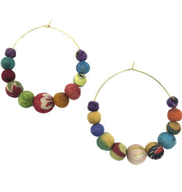 WorldFinds Kantha Graduated Hoops