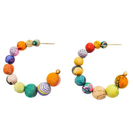 WorldFinds Kantha Conch Hoops