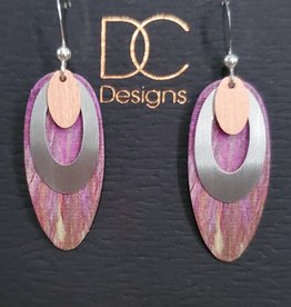 Illustrated Light Long Oval Giclee Earrings